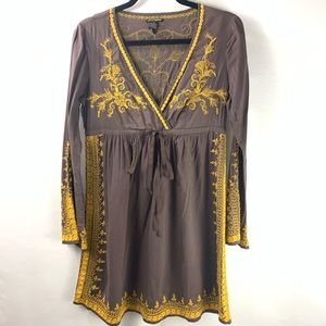 Lucky Brand Womens Small Boho Embroidered Peasant